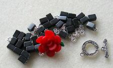 Polymer Clay Flower Bead Gemstone Beads Red Black Pewter Bracelet Beads Kit
