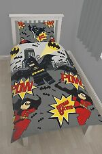 OFFICIAL Lego Batman + Robin Pow Reversible Rotary Duvet Quilt Cover Single Bed