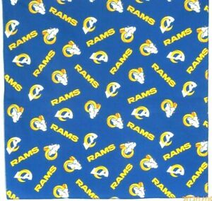"Bandanna for Los Angeles Rams on Blue 100% Cotton #528 Handmade 22""X22"""