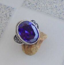 Size 8 (US) Purple Zircon Solid Silver,925 Bali Handcrafted Ring 38081