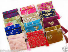 5pcs Multi-Color Handmade Satin Silk Purse Wallet Tassels Bags Jewelry Coin Bags