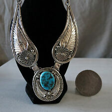"""E. Yazzie Navajo Winged Necklace Turquoise Sterling Vintage 19 1/2"""" LG 60 Grams"""
