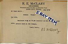 1915 Letterhead DODD CITY Texas R E McCLARY groceries Fannin County '25 Mrs WARD