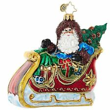 "Radko Sliding Into Cristmas 4 1/2"" Santa Sleigh Ornament 1019074"
