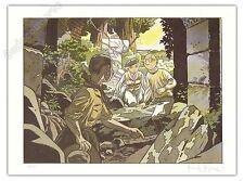 Affiche Le Gall Théodore Poussin ruines + Carte postale 150ex signé 28x38