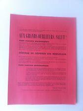 Tract surréaliste Aux grands oublieurs, salut ! 1969 Scission surréalisme