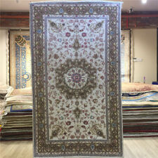 YILONG 3'x5' White Handmade Carpets Medallion Hand Knotted Silk Area Rug 019C