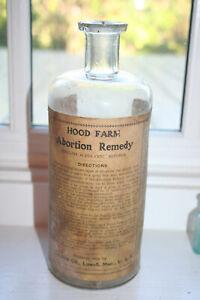 "9"" TALL Antique HOOD FARM ABORTION REMEDY C. I. HOOD CO FULL LABEL MINT BOTTLE"