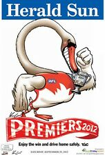 "AFL SYDNEY SWANS HERALD SUN WEG 2012 PREMIERS POSTER ""BRAND NEW"""