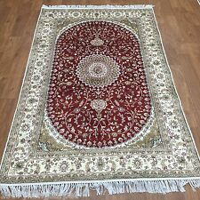 Yilong 4'x6' Red Handmade Carpets Old Hand Knotted Antique Silk Area Rug Y215C