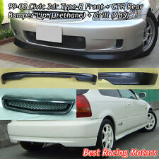 TR Style Front (PU) + CTR Rear Lip (PU) + Grill (ABS) Fit 99-00 Civic 3dr