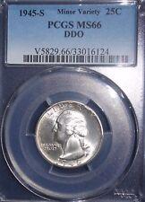 1945-S 25C Washington Quarter Minor Variety PCGS MS66 DDO ~NICE VARIETY~