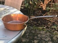 "Antique copper French frying pan 7.3"" Diameter with cast iron 7.5"" handle 1.36kg"