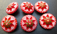 6 Glorious Vintage 2cm Red Glass Flower Buttons
