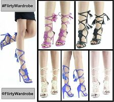 Ladies Strappy Long Lace Up Womens High Heels Sandals Front Design Pattern Shoes