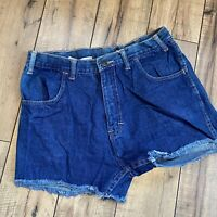 Vintage B Friends High rise blue jean shorts size 29W raw cut off 80's festival