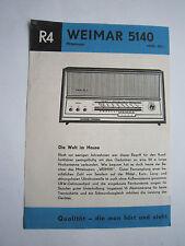 "Werbeblatt Radio ""Weimar 5140"" R 4, Stern Radio Sonneberg,RFT 1966"