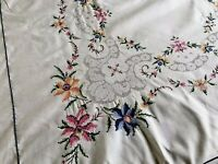 LARGE VINTAGE Hand EMBROIDERED Cream Cotton TABLECLOTH 66x98 INCHES