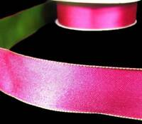 "5 Yds Watermelon Pink Green Reversible Double Face Satin Wired Ribbon 1 1/2""W"
