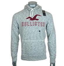 New Men's Hollister Hoodie Sweatshirt Fleece Lined M L XL 2XL Embroidered Grey