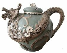 "JADE GREEN DRAGON Hand-Painted Ceramic Teapot, by Blue Sky Ceramics, 7"" Tall"