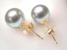 Wholesale Grey Shell Pearl 10mm Gold plated Stud Earring PE153