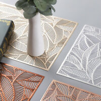 PVC Leaf Hollow Placemats Anti-Slip Pad Washable Dining Table Mats Wedding Party
