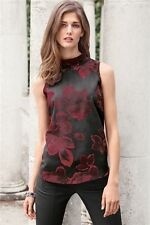New NEXT Black/Burgundy Floral Turtleneck Sleeveless Blouse Top 6 8 10 12