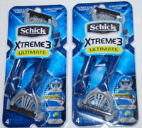 Schick Xtreme 3 Ultimate Disposable Razors 4 pack NEW Lot of 2 Aloe Shea Butter