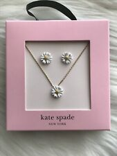 Kate Spade Into The Bloom Small White Flower Necklace & Stud Earrings S5