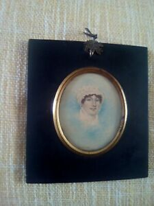 Portrait miniature painting young georgian lady.
