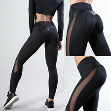 Women Mesh Leggings Fitness Workout Patchwork Running Stretch Yoga Leggings
