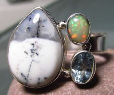 Sterling silver dendritic agate/opal/topaz ring UK Q½-¾/US 8.5