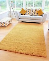 NEW BRIGHT NON SHED THICK MUSTARD SHAGGY RUG LARGE SMALL RUNNERS MATS UK