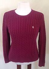 Ralph Lauren Petite M Purple Crew Neck Cable Knit Pullover Sweater Cotton EUC