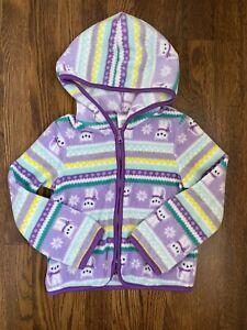 Gymboree Girls Fleece Hoodie Cat Kitten Fair Isle Zip Up Purple Size 4T-5T
