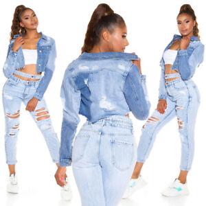 Damen Jeans Jacke Destroyed Used Look Jeansjacke