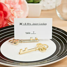 1 Ornate Shiny gold skeleton key place card holder Wedding Favor Vintage