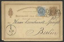 Denmark covers 1882 4ore uprated Stationery Pc to Berlin
