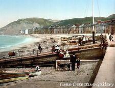 The Beach at Aberystwyth, Wales - circa 1900  - Historic Photo Print
