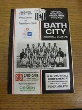 20/11/1990 Bath City V Fisher Athletic (leggera piega, Luce di marcatura). se questo mi