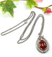 Vintage Miracle Silver Tone Pendant Necklace with Orange / Red Glass