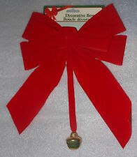 """Red Velvety Decorative Christmas Bow Gold Jingle Bell Decoration 10"""" Home Decor"""