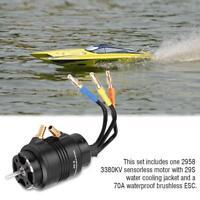 For RC Boat ROCKET Waterproof 2958 3380KV Brushless Motor w/ 70A ESC Combo Set
