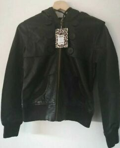Women's brown leather look jacket button detail UK 14 RRP £32.99 #104