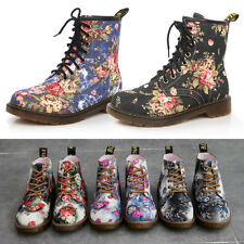 2017  LADIES WOMENS FLORAL LOW HEEL ANKLE BOOTS LACE UP HIGH TOP RETRO SHOE SIZE