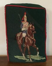 Vintage Needlepoint Wool Pillow Horse Soldier Guard Military English Petit Point
