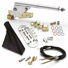 Floor Mnt E-Brake HandleBlack Boot, Chr Ring, Cable Kit, GM Clevis rod rat