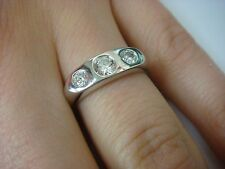 14K WHITE GOLD LADIES 3 STONE DIAMOND GYPSY RING 0.45 CT T.W. SOLID BACK SIZE 6