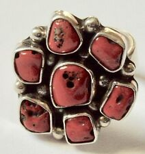 L. BENNETT NAVAJO STERLING SILVER RED CORAL RING  APPROXIMATELY SIZE 7 1/2